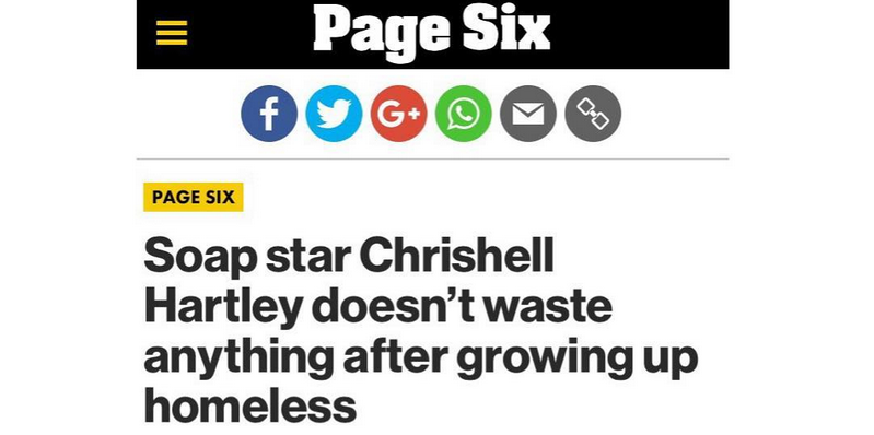 Soap star Chrishell Hartley doesn't waste anything after growing up homeless