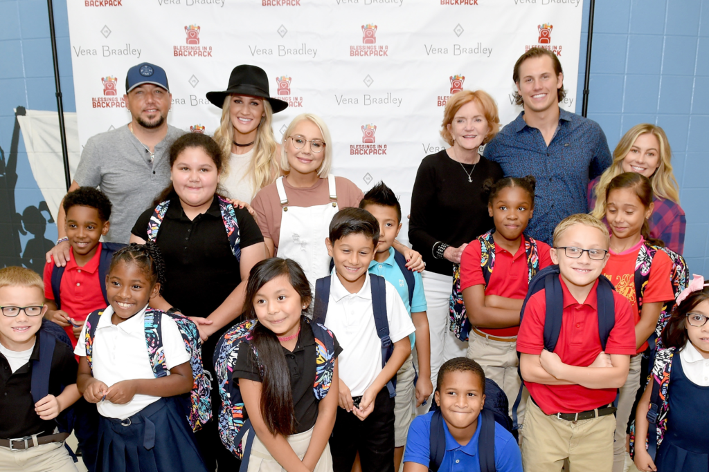 Jason Aldean & Wife Brittany Host Vera Bradley x Blessings in a Backpack Elementary School Charity Event