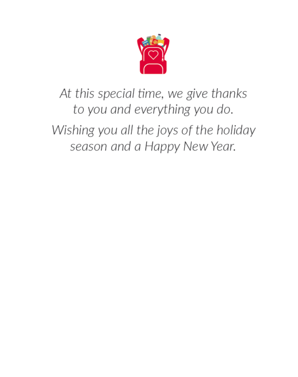 Inside of Holiday Card for Volunteers