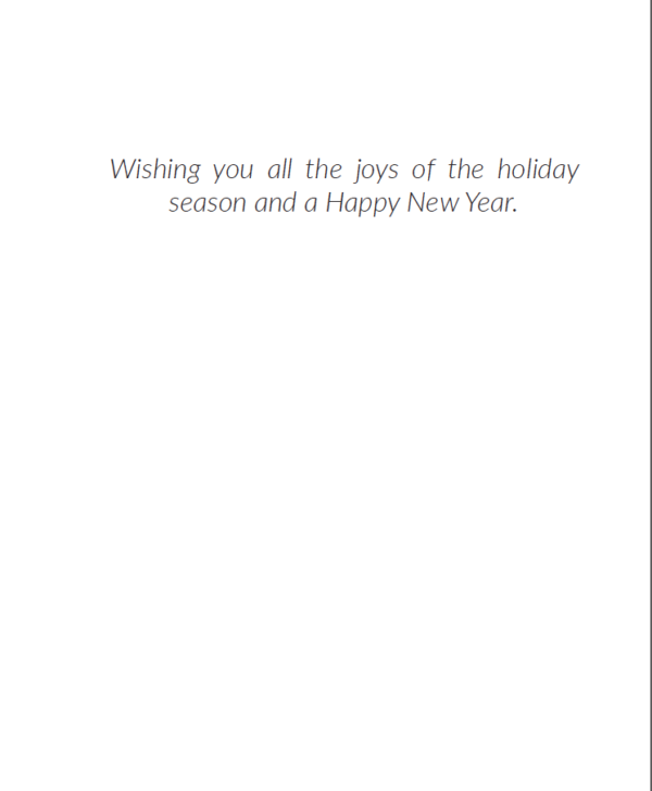 Inside of Holiday Card