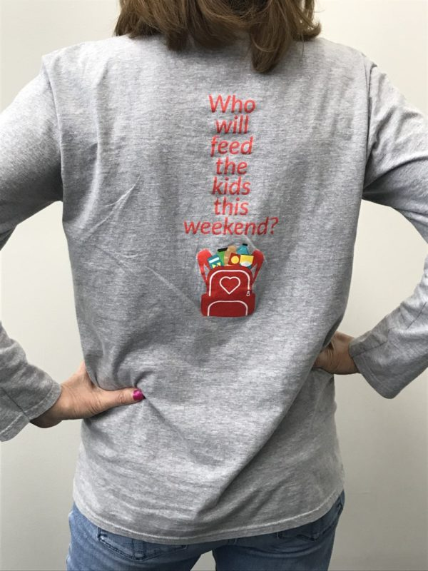 Back of Who will feed the kids this weekend long sleeve shirt