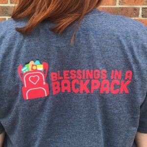 Back of Blue Blessings in a Backpack T-shirt