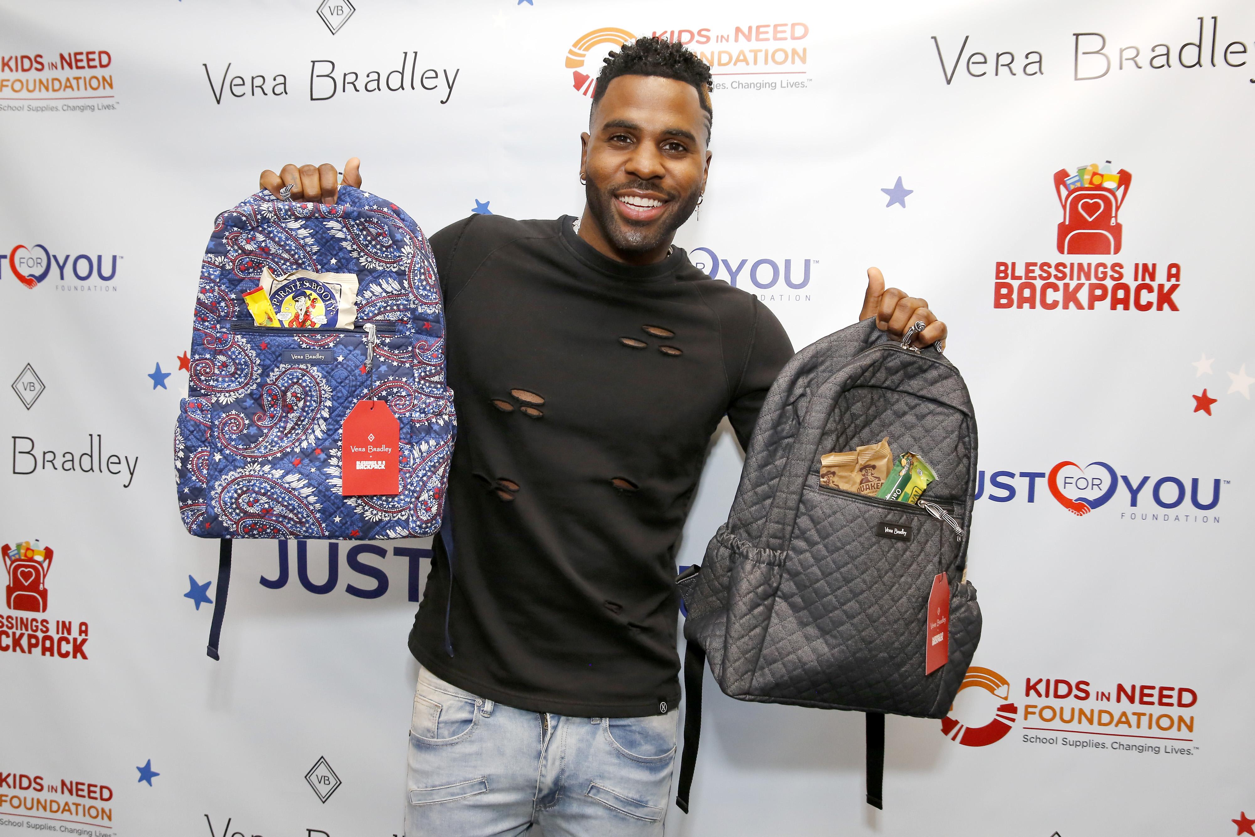 Jason Derulo with Vera Bradley backpacks