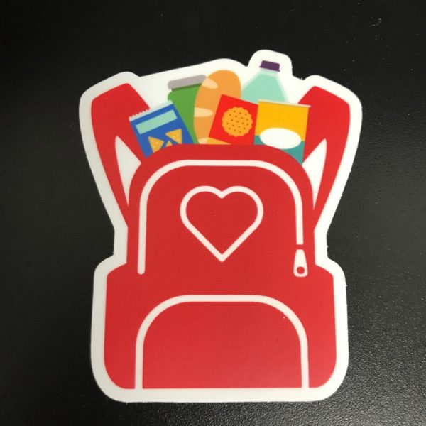 Close up of Backpack Die Cut Sticker