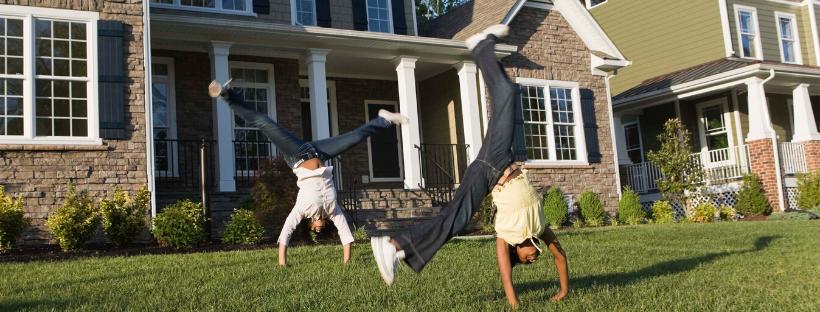 Kids doing cartwheels