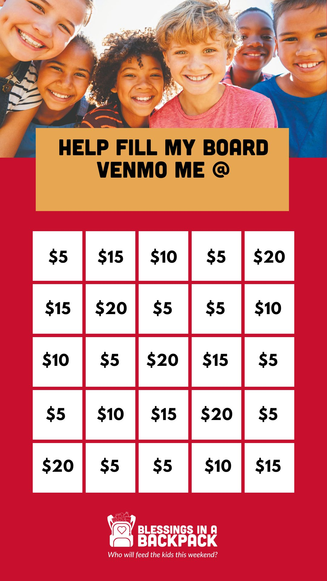 Bingo Board for Instagram Story Fundraiser