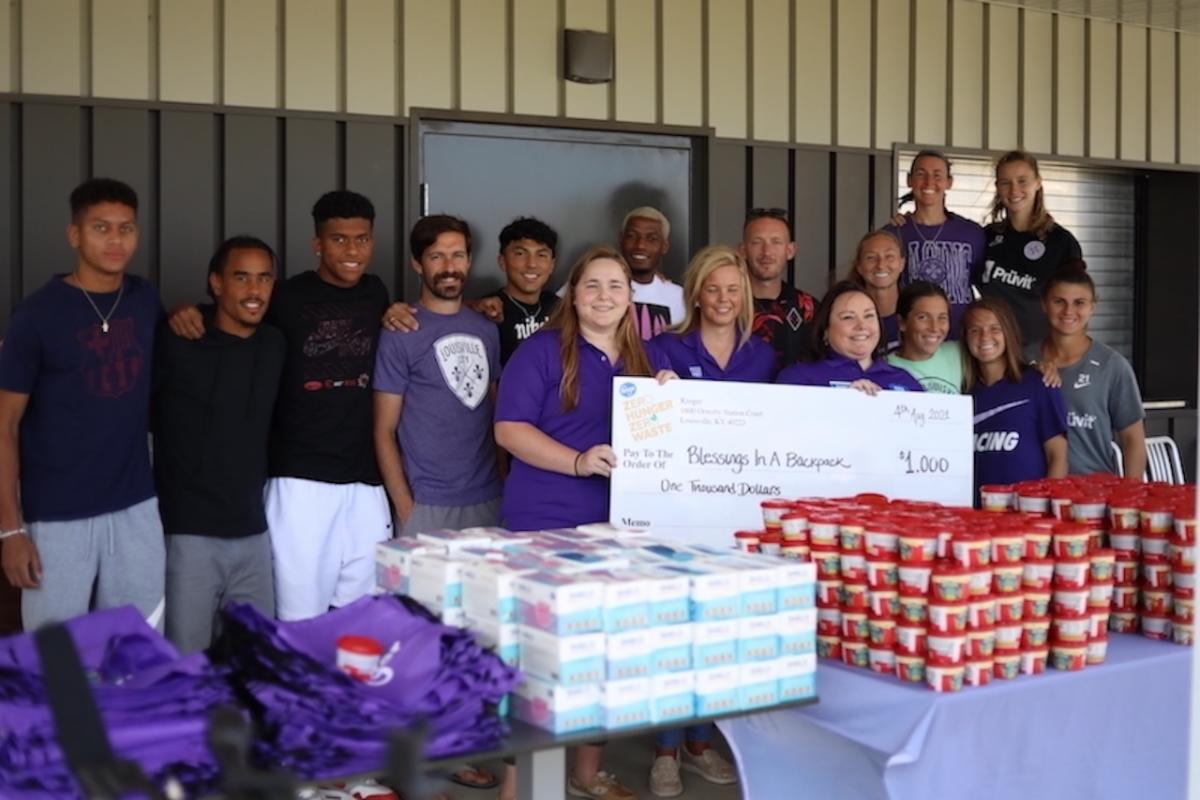 LouCity, Racing FC team up through Blessings in a Backpack packing day